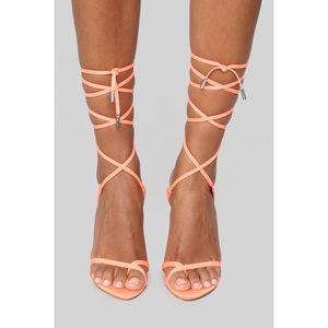 Nothing But Lies Heeled Sandals - Neon Orange